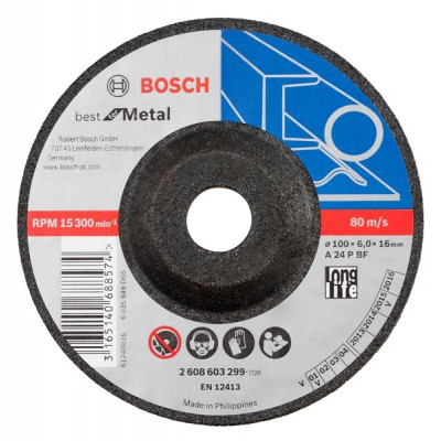 "Bosch A24PBF  grinding wheel, 4"" (Pack of 5)"